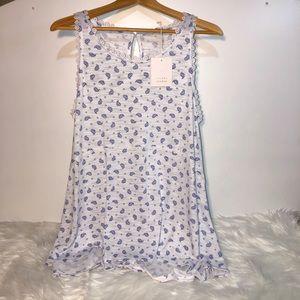LC Lauren Conrad Peplum Crochet Tunic Blouse Top L